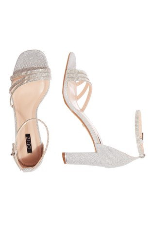 Quiz Silver Shimmer Triple Diamanté Block Heel Sandals