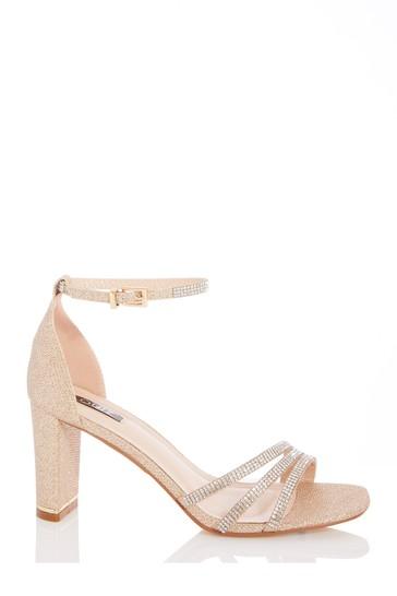 Quiz Gold Shimmer Triple Diamante Block Heel Sandals