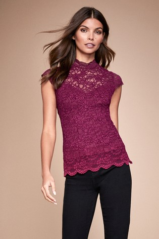 Lipsy Berry Lace High Neck Cap Sleeve Top