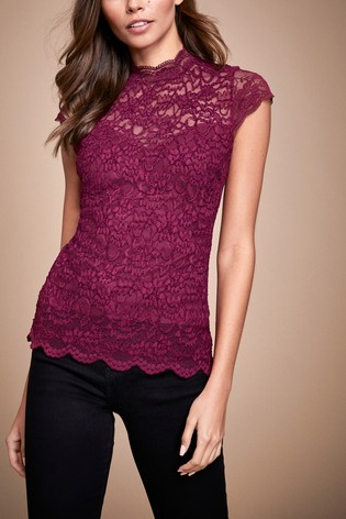 Buy Lipsy Lace High Neck Cap Sleeve Top