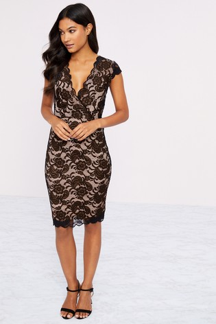 Lipsy Brown Short Sleeve Lace Bodycon Dress