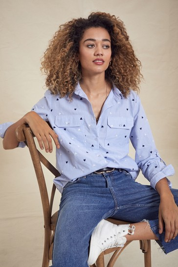 Love & Roses Blue and White Regular Patch Pocket Shirt
