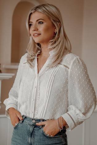 Love & Roses Ivory Frill Neck Lace Trim Blouse