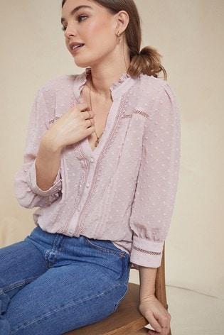 Love & Roses Blush Regular Frill Neck Lace Trim Blouse