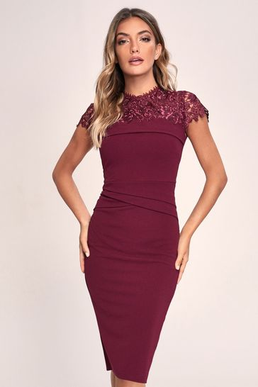 Lipsy Red Lace Pleated Bodycon Dress