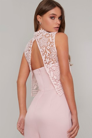 Chi Chi London Pink Lace Overlay Wide Leg Jumpsuit