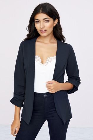 Lipsy Navy Jersey Ruched Sleeve Blazer