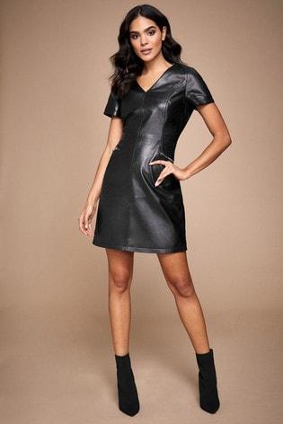 Lipsy Leather V neck Shift Dress
