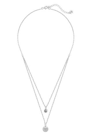 Lipsy Jewellery Sterling Silver 925 Double Row Charm Pendant Necklace