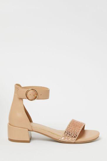 Lipsy Pink Low Block Heel Sandals (Older)