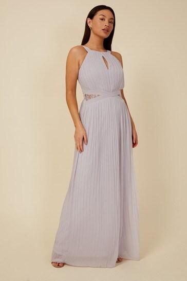 Little Mistress Grey Bridesmaid Kellie Lace Insert Pleated Maxi Dress