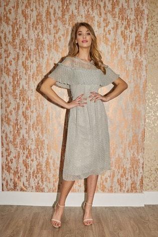 Little Mistress Green Danni Waterlily Textured Spot Midi Dress
