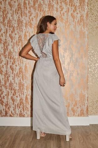 Little Mistress Grey Tyler Lurex Ruffle Maxi Dress