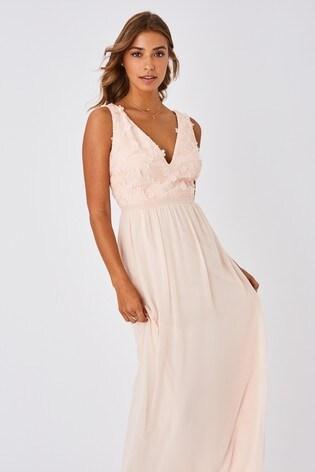 Little Mistress Nude Mariska Bridesmaid Floral Applique Maxi Dress