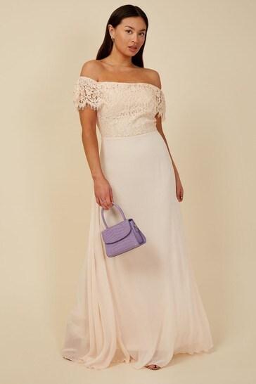 Little Mistress Nude Bridesmaid Alexia Lace Bardot Maxi Dress