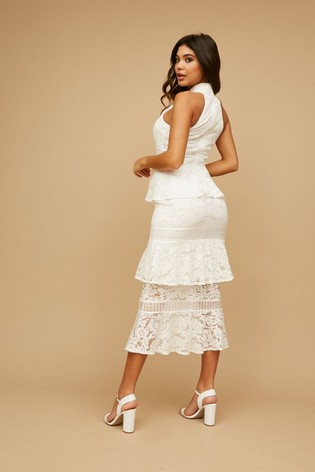 Little Mistress White Kenzo Tiered Lace Ruffle Midaxi Dress