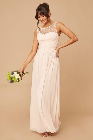 Little Mistress Nude Grace Bridesmaid Embellishment Sweetheart Maxi Dress