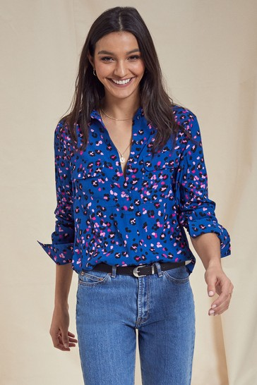 Love & Roses Blue Regular Patch Pocket Shirt