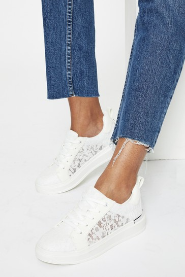 Lipsy White Lace Scalloped Chunky Trainer