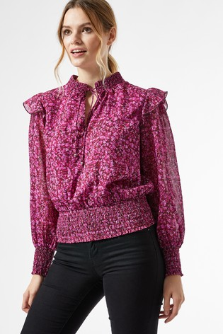 Dorothy Perkins Ditsy Tie Neck Long Sleeve Top
