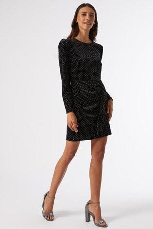 Dorothy Perkins Black Ruffle Hem Velvet Spot Mini Dress