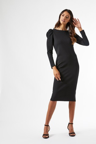 Dorothy Perkins Black Ruched Sleeve Bodycon Dress