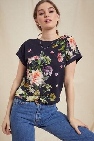 Love & Roses Black Floral Roll Sleeve TShirt