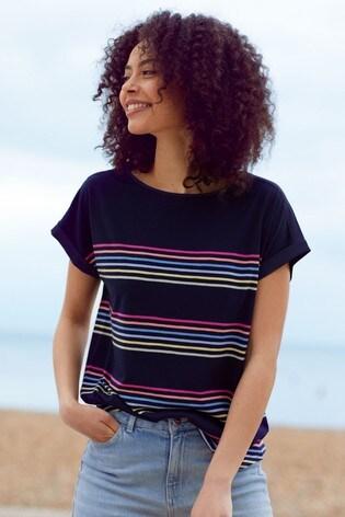 Love & Roses Navy stripe Roll Sleeve TShirt