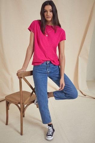 Love & Roses Bright Pink Roll Sleeve TShirt