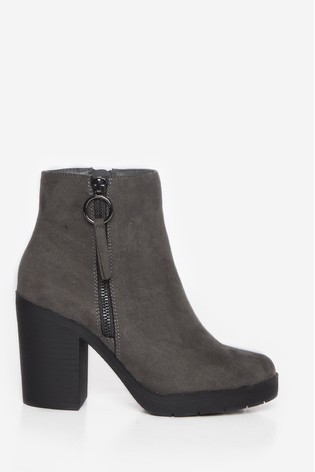 Dorothy Perkins Grey Abby Chunky Ankle Boot