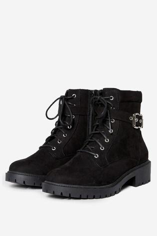 Dorothy Perkins Black Wide Fit Mona Biker Ankle Boot