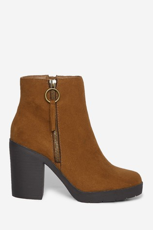 Dorothy Perkins Brown Wide Fit Abby Chunky Ankle Boot