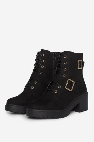 Dorothy Perkins Black Wide Fit Marley Cleated Ankle Boot