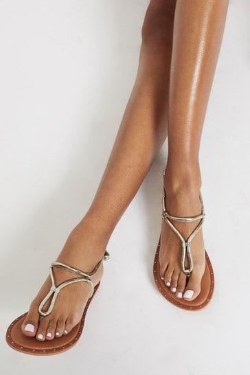 Lipsy Gold Leather Tubla Flat Sandal