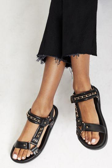 Lipsy Black Chain Hiker Footbed Sandal