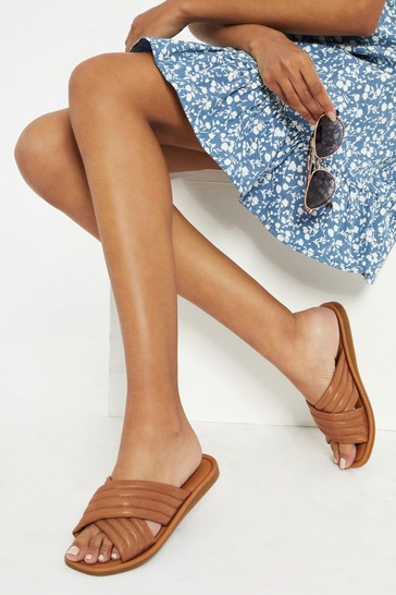 Lipsy Brown Leather Quilted Padded Mule Flat Sandal