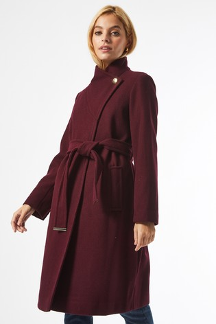 Dorothy Perkins Red Petite Funnel Neck Belted Coat