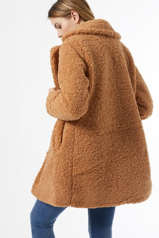 Dorothy Perkins Brown Fudge Long Line Teddy Coat