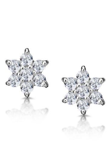 The Diamond Store White 0.30ct Star Cluster Earrings in 9K White Gold