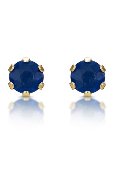 The Diamond Store Sapphire Studded Earrings in 9K Yellow Gold 3 x 3mm