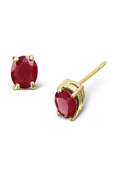 The Diamond Store Ruby 0.73CT Earrings in 9K Yellow Gold 12mm x 4mm