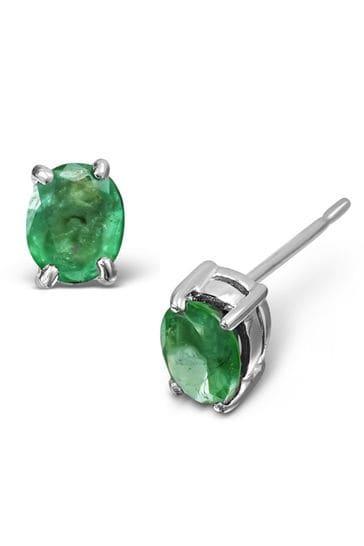 The Diamond Store Emerald Studded Earrings in 9K White Gold 5 x 4mm