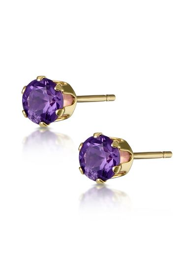 The Diamond Store Amethyst Studded Earrings in 9K Yellow Gold 3 x 3mm