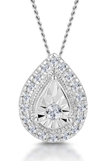 The Diamond Store White 0.10ct Masami Pear Halo Necklace Pave Set in 9K White Gold