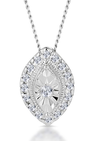 The Diamond Store White 0.10ct Masami Marquise Halo Necklace Pave Set in 9K White Gold