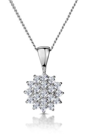 The Diamond Store White 0.25ct Pendant Necklace in 9K White Gold
