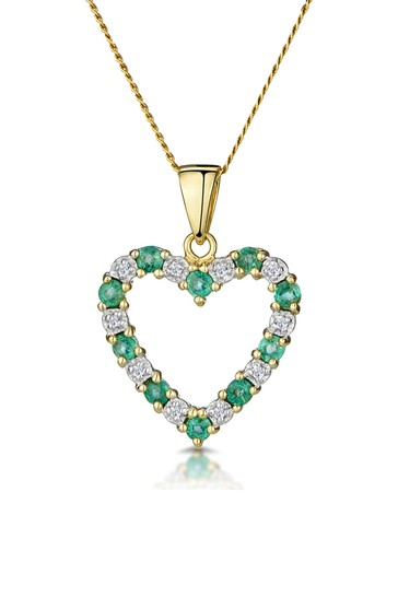 The Diamond Store Emerald 0.54CT And Diamond Heart Pendant Necklace in 9K Yellow Gold