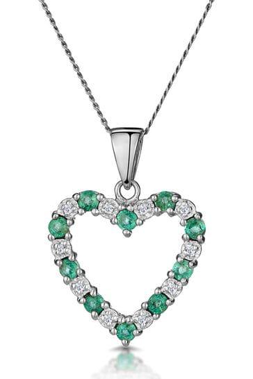 The Diamond Store Emerald 0.54CT And Diamond 9K White Gold Heart Pendant Necklace