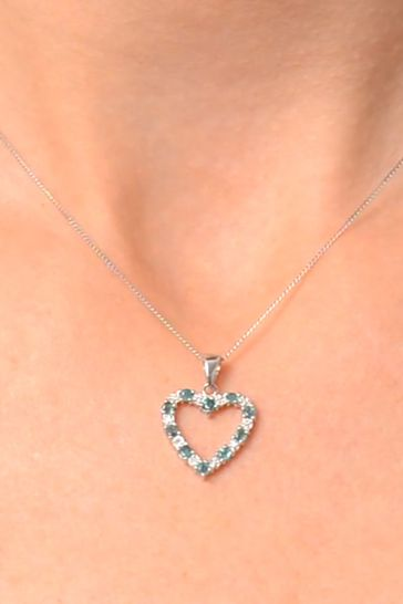 The Diamond Store Emerald 0.54CT And Diamond 9K White Gold Heart Pendant Necklace