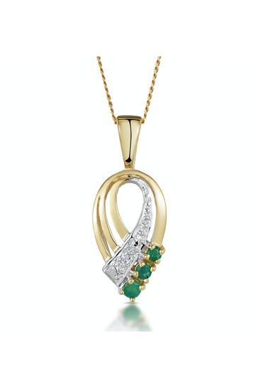 The Diamond Store Emerald 2.25mm And Diamond Pendant Necklace in 9K Yellow Gold